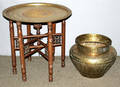 090265 EAST INDIAN BRASS  WOOD TABLE