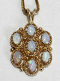 090261 YELLOW GOLD  OPAL PENDANT  CHAIN NECKLACE