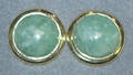090257 YELLOW GOLD  CABOCHON JADE EARRINGS