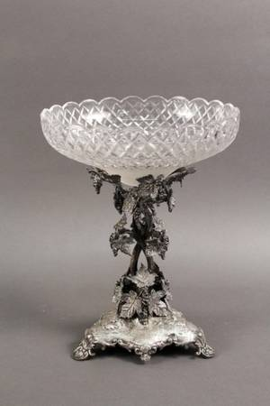 Silverplated Epergne w Cut Glass Bowl