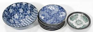 11352 JAPANESE BLUE  WHITE PORCELAIN BOWLs PLATES