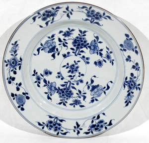 10341 CHINESE BLUE  WHITE PORCELAIN CHARGER 11