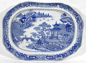 10329 ENGLISH BLUE  WHITE PORCELAIN PLATTER