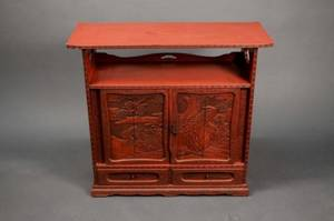 Chinese Red Lacquered Altar Cabinet Table