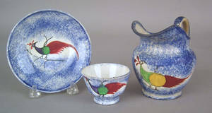 Miniature blue spatter cup and saucer 19th c