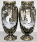 121392 VICTORIAN MARY GREGORY GLASS VASES 2 H 13