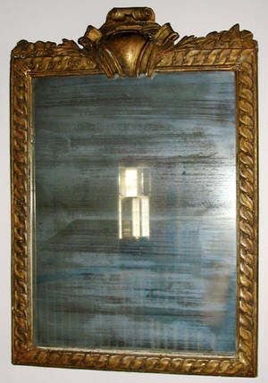 102418 ITALIAN GILT WOOD  GESSO RECTANGULAR MIRROR