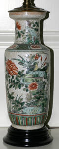 102414 CHINESE CRACKLE PORCELAIN VASES AS TABLE LAMPS