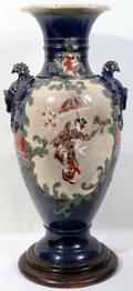 092304 JAPANESE SATSUMA POTTERY URN H30 DIA14