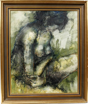 122424 ALDO PAOLUCCI OIL ON CANVAS FEMALE NUDE