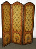122421 FRENCH STYLE LEATHER THREEPANEL SCREEN