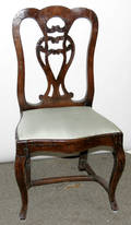 122410 COUNTRY FRENCH WALNUT SIDE CHAIR 18THC
