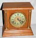 120428 SESSIONS CLOCK CO OAK MANTEL CLOCK C 1900