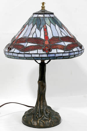 120414 ART DECO STYLE SPELTER TREE LAMP W DRAGONFLY