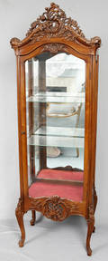 092316 FRENCH WALNUT CURIO CABINET