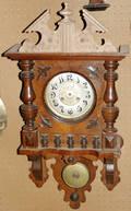 091375 GERMAN WALNUT HANGING CLOCK