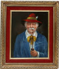 12393 R F JAMES OIL ON BOARD CHARACTER PORTRAIT