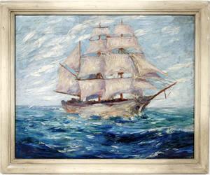 12406 JUAN JOSE SEGURA OIL ON CANVAS SAILING SHIP