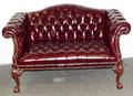 112371 CHIPPENDALE STYLE BURGUNDY LEATHER SETTEE