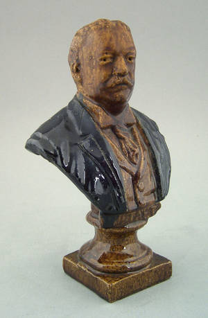 Sewer tile bust of US president William Howard Taft early 20th c