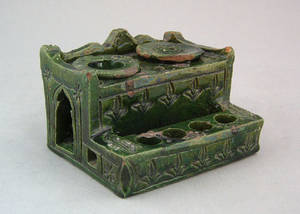 Green glaze redware standish 19th c