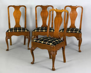 Set of 4 Queen Anne mahogany dining chairs ca 1750