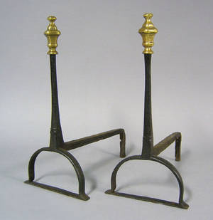 Pair of English wrought iron andirons early 18th c