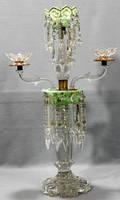 100375 GREEN CRYSTAL  GOLD BRONZE CANDELABRUM