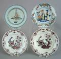 Four Delft plates mid 18th c