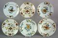 Six Delft Fazackerly plates mid 18th c