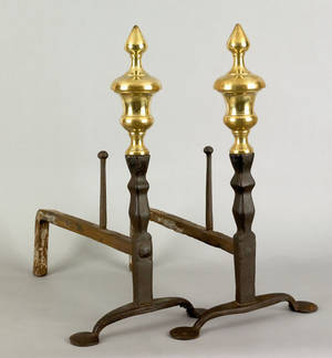Pair of American or English wrought iron andirons early 18th c