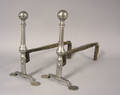 Pair of English or American wrought iron andirons mid 18th c