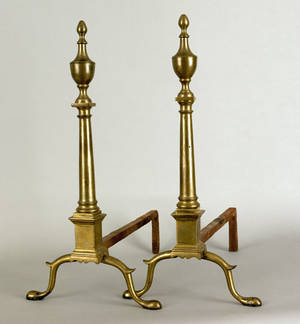 Pair of New York Federal brass andirons