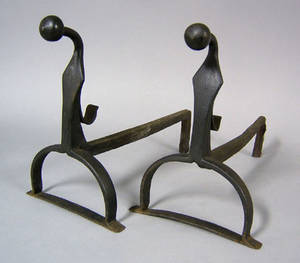 Two pair of cast and wrought iron andirons mid 18th c
