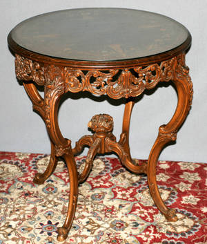 111628 FRENCH STYLE INLAID WALNUT TABLE