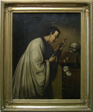 Oil on canvas of a priest  with reliquaries