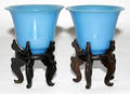 101554 BLUE PEKING GLASS VASES ON WOOD STANDS