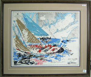 Leroy Neiman signed lithograph titled Americas Cup