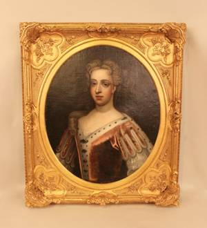 Gilt Framed English Portrait of Elegant Woman