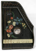 12476 EBONY ZITHER ANTIQUE HAND PAINTED FLOWERS