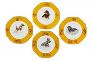 Set of 4 Hermes Dog Motif Porcelain Plates