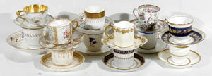 122551 WORCESTER MINTON  DOULTON PORCELAIN TEA CUPS
