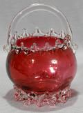 121532 AMERICAN CRANBERRY GLASS BASKET H 8 DIA 5