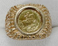112460 YELLOW GOLD COIN RING ST GEORGE  DRAGON