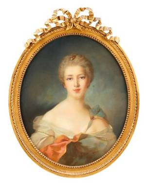 Oval Pastel Portrait of Young Beauty in Pink