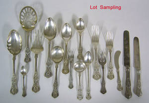 Sterling silver dinner service by Dominic  Haff in the New King pattern early 20th c