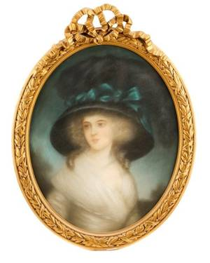 French School Pastel Portrait of Young Beauty