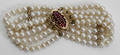 092424 CULTURED PEARL YELLOW GOLD  RUBY BRACELET