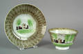 Olive green spatter cup and saucer 19th c