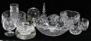 122602 AMERICAN CUT GLASS BOWLS VASE BACCARAT SALT